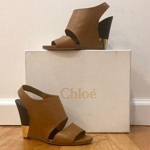 CHLOE Estel Leather Slingback Wedge Sandal